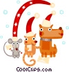 Vector Clipart image  of a Cat, dog,mouse celebrating Christmas