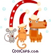 Vector Clipart graphic  of a Cat, dog,mouse celebrating Christmas