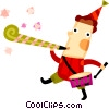 Vector Clip Art graphic  of a Boy playing his drum and blowing noise maker