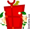 Vector Clip Art image  of a Elves with a Christmas gift