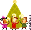 Children celebrating with Christmas candles Vector Clip Art picture