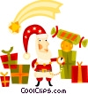 Vector Clip Art graphic  of a Santa surrounded by presents
