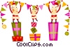 Vector Clipart picture  of a Elves hanging a banner