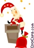 Santa going down a chimney Vector Clipart graphic