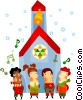 Vector Clipart illustration  of a Children singing Christmas carols
