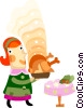 Vector Clip Art picture  of a Women serving Christmas dinner