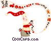 Vector Clip Art graphic  of a Santa reading his list
