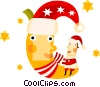 Vector Clipart image  of a Santa sitting on the moon