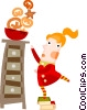 Girl reaching for Christmas cookies Vector Clipart image