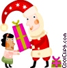 Santa delivering a gift to a girl Vector Clipart illustration