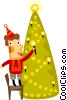 Vector Clip Art image  of a Man placing a candle on a tree