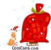 Reindeer looking at a giant sack of toys Vector Clip Art picture