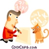 Man thinking about what to write with his cat Vector Clipart picture