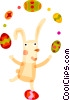 Easter bunny juggling Easter eggs Vector Clip Art image