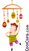 Boy playing with Easter eggs Vector Clipart illustration