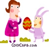 Vector Clip Art picture  of a Easter bunny giving an Easter egg