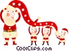 Santa and his elves Vector Clip Art image