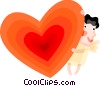 Vector Clipart image  of a Cupid and a heart