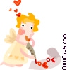 Cupid writing a love letter Vector Clipart picture
