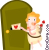 Vector Clipart graphic  of a Cupid sending a love letter