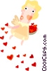 Vector Clip Art image  of a Cupid with hearts