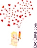Cupid with hearts Vector Clipart picture