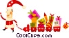 Vector Clip Art picture  of a Santa pulling his presents