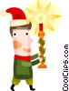 Vector Clipart graphic  of a Boy carrying a Christmas