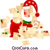 Vector Clipart graphic  of a Santa opening his letters