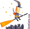Witch flying on her broom Vector Clip Art picture