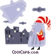 Vector Clip Art graphic  of a Trick or treater and a ghost
