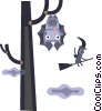 Vector Clip Art graphic  of a Bat in the trees and a witch