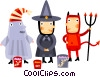 Trick or treaters in costume Vector Clipart picture