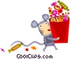 Child in a mouse costume with candy Vector Clipart illustration