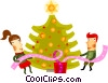 Vector Clipart picture  of a decorating a Christmas tree