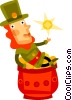 Irish man sitting on pot of gold St. Patrick's day Vector Clipart image