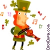 Vector Clip Art graphic  of a Irish man playing fiddle