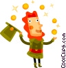Vector Clipart illustration  of a Irish man juggling gold coins