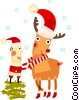 Vector Clipart image  of a Santa with a reindeer