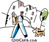 Vector Clip Art image  of a Man walking his dog