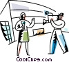 Female reporter with camera man Vector Clipart illustration