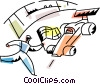 Vector Clipart image  of a Race official waving winning