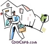 Vector Clipart graphic  of a Letter carrier delivering the