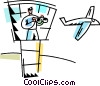 Air traffic controller directing airplanes Vector Clipart image