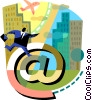 man running in the city with e-mail Vector Clipart picture