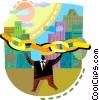 Businessman with chain and city Vector Clipart illustration