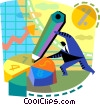 Businessman taking piece of pie chart Vector Clip Art graphic