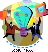 Idea Concepts Businessmen coming up with an idea Vector Clipart picture