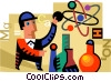 Scientists and Researcher with molecules and beakers Vector Clipart picture