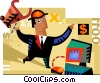 man investing into the stock market Vector Clipart picture